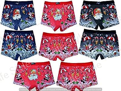 Mens Christmas Boxer Shorts Festive Xmas Trunks Underwear Santa Printed Novelty Brief Shorts