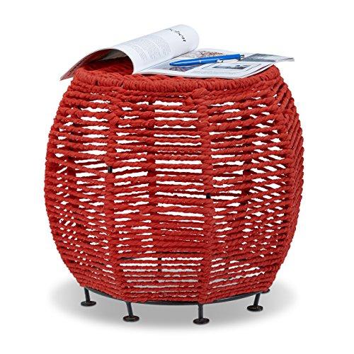 Relaxdays Strick Hocker Shabby Chic, Sitzhocker aus Metall und Stoff, Runder Pouf mit Beine HxBxT 35 x 42 x 42 cm, Rot (Sitzfläche Runde 47)