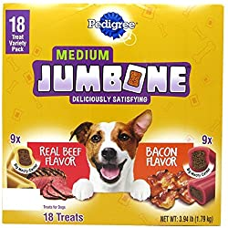 Pedigree Jumbone Dog Treat (18 ct.) Medium Jumbone, Dog Treat Variety Pack, 9 Real Beef 9 Bacon Flavor, Medium Jumbone, Big Meaty Center , Treats for Dog, Family Size