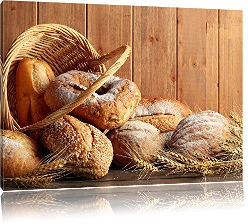 Brot Brötchen Frühstück Bäcker Format: 60x40 cm auf Leinwand, XXL riesige Bilder fertig gerahmt mit Keilrahmen, Kunstdruck auf Wandbild mit Rahmen, günstiger als Gemälde oder Ölbild, kein Poster oder Plakat