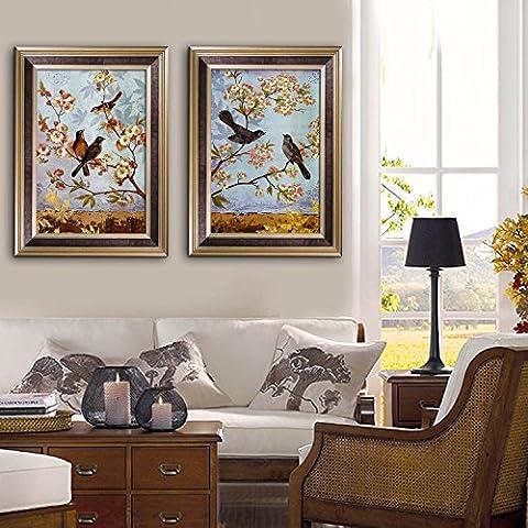 modylee piena di fiori albero e uccelli, Telone Video decorativa dipinti soggiorno camera da letto pCS2Tela pittura a olio, Brown,