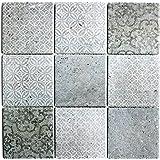 Retro Vintage Mosaik Fliese Keramik grau MOS22-CELLO/_m