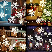 Water Wave Christmas Projector Lights, CAMTOA LED Double Projector Lamp 2-in-1 with Rotating Snowflake Snowfall &Remote Timer &12 Slides&10 Colors, Waterproof Effect Projector for Night Light Decor by CAMTOA