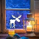 Fensterbild Weihnachten Schneeflocken Fensterdeko Weihnachtsdeko Sterne Elch Rentiere weiß M1236 ilka parey wandtattoo-welt®