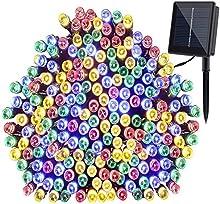 Coomatec 200 LED luz RGB Solar cadenas ligeras de hadas para Navidad fiestas de boda de jardín Decoración del árbol (color) (200 LED COLOUR)