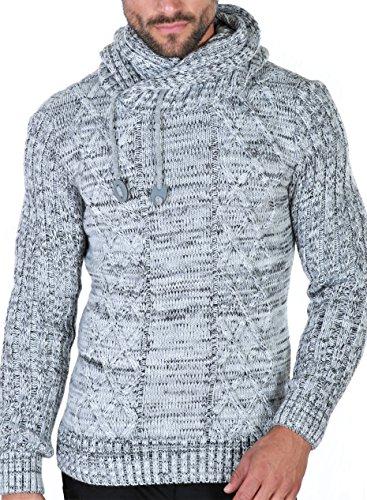Schalkragen-pullover (Karl's people Herren Strick Kapuzen Pullover mit Schalkragen in verschieden Farben 7510, Größe XL, Farbe Grey)