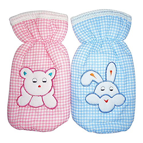 Littly Printed Bottle Covers Combo - Blue, Pink- Pack of 2