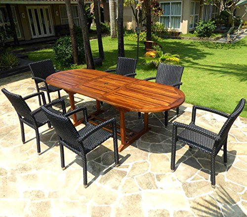 Gartenmöbel, Teak Java mit 6Sessel Polyrattan schwarz