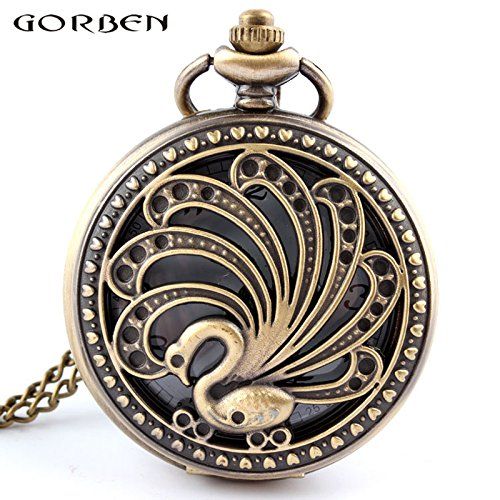 2017 New Arrival Bronze Hollow Beauty Peacock Quartz Pocket Watch With Necklace Long Chain Gifts for Men Woman Pocket Watches