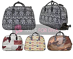 Ladies Women's New Elephant Apple Print Travel Telescopic Handle Wheeled Holdall Holidays Suitcase Duffle Bag