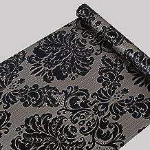 Papel pintado autoadhesivo de Damasco Negro Papel de contacto estante maletero para encimeras de cocina armarios cajones estantes para pared (17,7x 393()