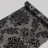 Papel pintado autoadhesivo con diseño de damasco en color negro. Apto para casi todo tipo de superficies (45 cm x 10m)
