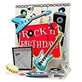 SOUND Pop Up 3D Karte Geburtstag Musik Rock`n Roll Gitarre 18x13cm