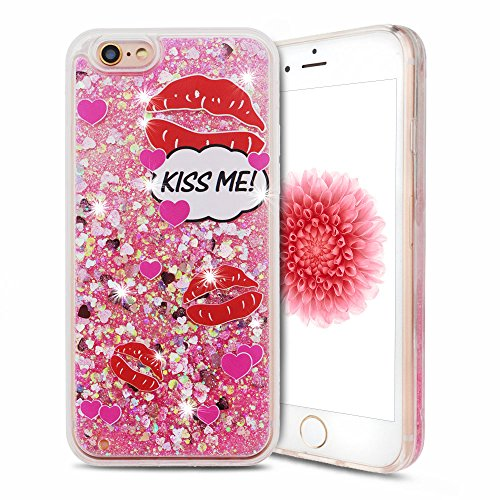 Cover iPhone 6s Custodia iPhone 6 Silicone Quicksand Anfire Morbido Flessibile Trasparente Gel TPU Case per Apple iPhone 6 / 6s (4.7 Pollici) Sabbie Mobili Cover Rosa Bling Glitter Cristallo Stella Fl Labbra Rosse