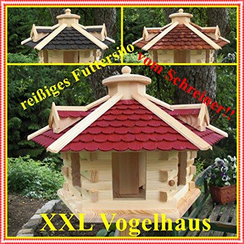 Vogelhaus Vogelhäuser Vogelfutterhaus-(V035)-Vogelhäuschen-aus Holz- Schreinerarbeit-Gaube Schwarz sehr Groß - 3