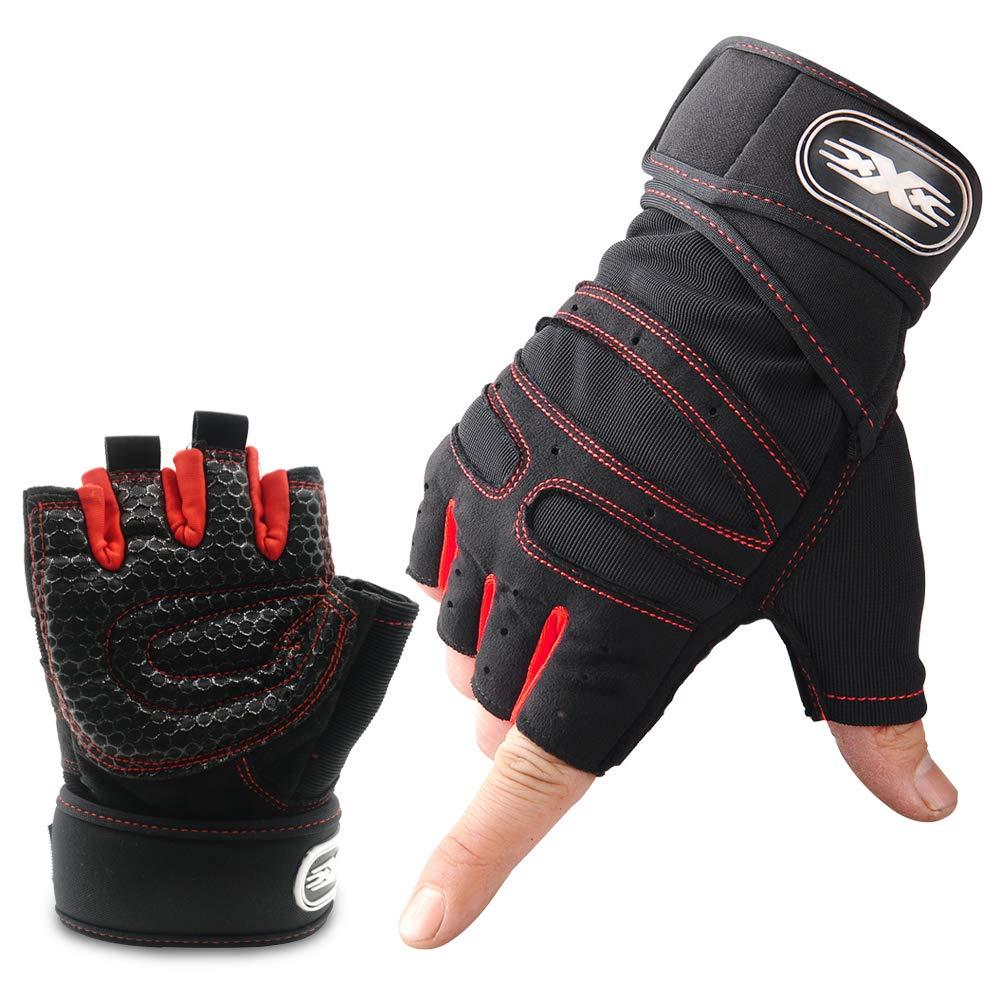 Wesho Guantes de gimnasio, guantes de entrenamiento, transpirables con protección antideslizante que absorbe los golpes, ajuste cómodo, ideal para fitness, crossfit, dominadas, ciclismo, correr, para hombres y mujeres