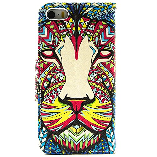 Più colorate Ancerson in pelle PU Flip Custodia per cellulare per Apple iPhone 5/5S/5G in pittura ad olio Stil Colorful Painting Custodia Flip Case Custodia in similpelle custodia per cellulare con fu leone
