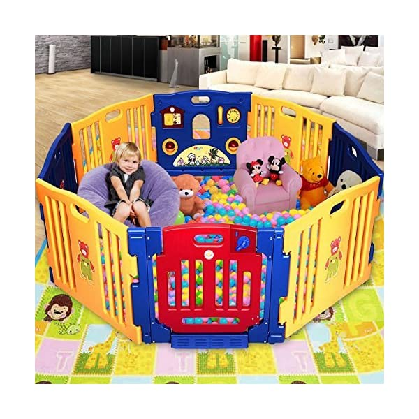 COSTWAY Baby Playpen with 8 Colorful Panels, Upgraded Safety Lock, Changeable into Octagon, Rectangle, Square, Triangle as Infant & Toddlers Activity Center (Blue) Costway 【Easy to install and clean】Easy to assemble within a few seconds. You can enjoy a happy time when install the playpens with your family. Polyethylene materials allows for easy cleaning and maintenance. 【Stylish and multi- functions】Picture House, Play Phone, Spinning Balls are available so that your little one can enjoy playing alone for a while. The colorful design offers a dreamy activity center for your little angel. 【Premium Quality and safe Materials】Our baby Playpen is made of Polyethylene which has an extensive application on daily necessities, it is non-toxic and extraordinarily stable. EN71 products meet European standards. 2