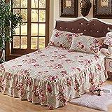 Zhiyuan falda de cama y 2 fundas de almohada con patrón de flores rojas, 150x200x43cm