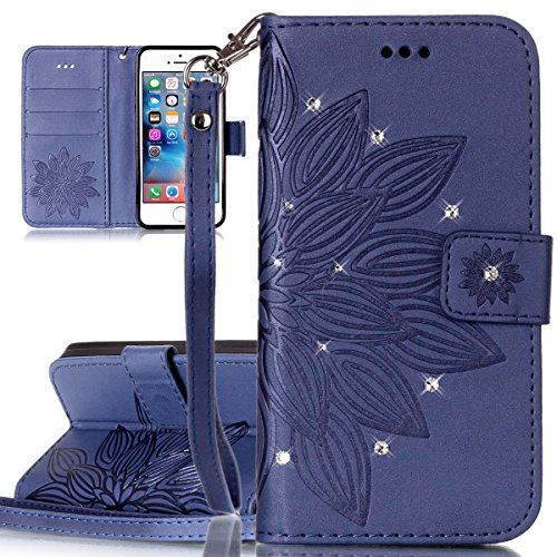 Cover iPhone SE, Custodia per Apple iPhone 5/5S, ISAKEN Custodia Fiore e Ragazza Design PU Pelle Book Folding Case Glitter Bling Cover, Supporto Stand e Porta Carte Integrati Portafoglio Flip Cover co fiori:blu