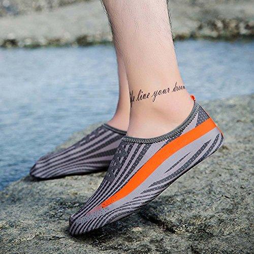 huateng Nuova Coppia di Scarpe da Sport Acquatici Calzettoni da Yoga Traspiranti a Piedi Nudi, Traspiranti e asciutti, Scarpe da Donna Grigio + arancione