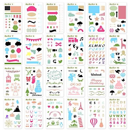 (Zeichenschablonen Bullet Journal Schablone Zubehör,24 Stück Kunststoff Zeichnung Skala Malen Multifunktionale Zeichnung Lineal für Tagebuch,Scrapbooking, Karten und DIY Craft Projekte)