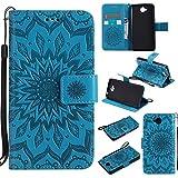 Phone Cases Covers, Für Huawei Y6 Pro/Ehre Spielen 5X / Genießen 5, Sun Flower Printing Design PU Leder Flip Wallet Lanyard Schutzhülle Mit Halterung Kartensteckplatz (Color : Blau)