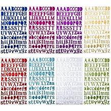 Vitasemcepli Juego de 8 Pegatinas Letras Alfabeto Colores Adhesivos Stickers Glitter Aptos para Decorar Diario Las