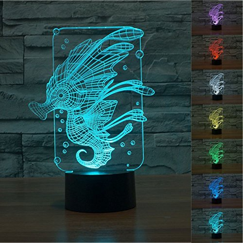 Motorrad Krallen Mit Handschuhe (3D seepferdchen Glühen LED Lampe 7 Farben erstaunliche optische Täuschung Art Skulptur Ferneinstellung Lichter produziert einzigartige Lichteffekte und 3D-Visualisierung für Home Decor-kreative)