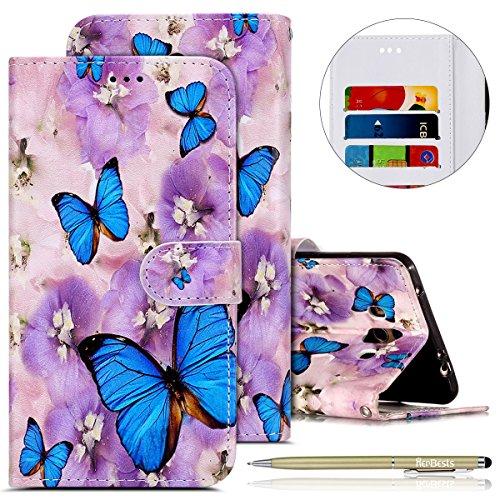 Kompatibel mit Handy Schutzhülle Huawei Mate 10 Handyhülle Bookstyle LederHülle Ledertasche Klapphüllen Handy Tasche Leder Flip Case Cover Mit Kartenfach,lila Blumen Schmetterling
