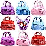 German Trendseller® - 6 x sacs à main scintillante pour enfants┃avec paillettes┃l'anniversaire d'enfant ┃petit cadeau ┃couleurs vives