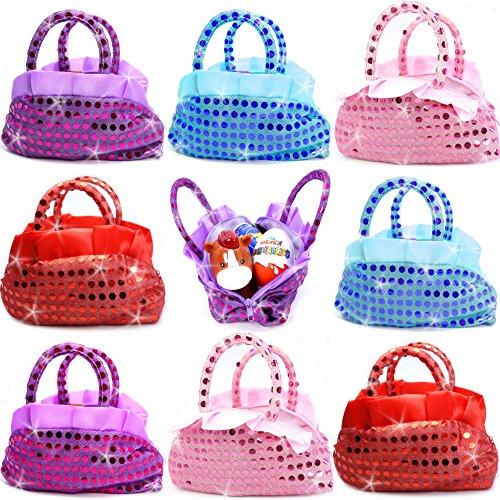 German Trendseller® - 6 x Glitzer Kinder Handtaschen ┃ Mitgebsel ┃ Kindergeburtstag ┃ Handtasche ┃ Für 6 Kinder