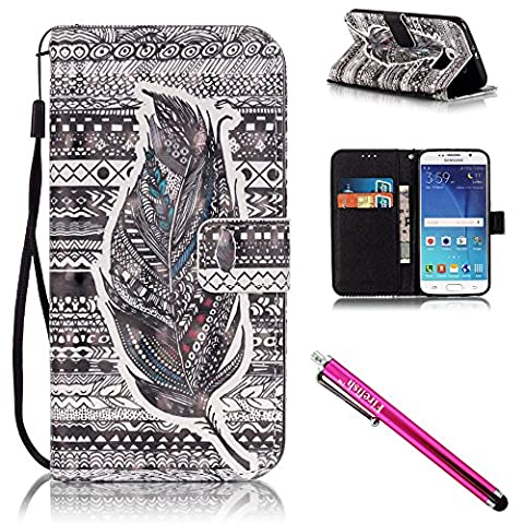 Galaxy S6 Case, Galaxy S6 Wallet Case, Firefish [Kickstand] [Shock Absorbent] Double Protective Case Flip Folio Slim Magnetic Cover with Wrist Strap for Samsung Galaxy S6-Feather