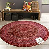 #10: Avioni Cotton Braided Chindi Area Rug 5 feet round, Handmade by Skilled Artisans, 100% Natural ecofriendly cotton yarns, Reversible for double the wear, Rug pad recommended