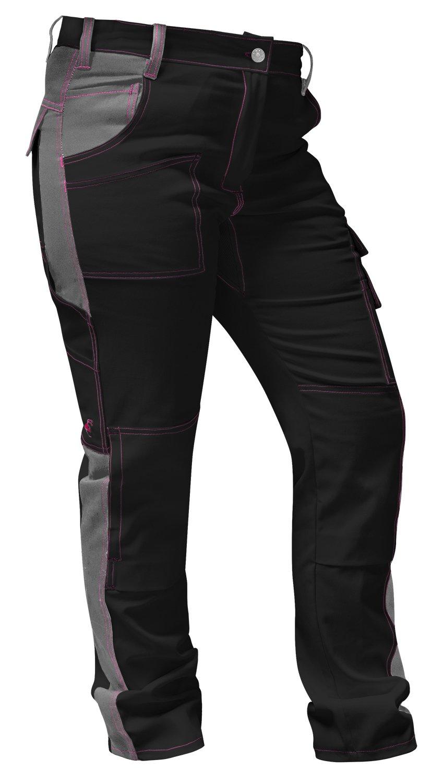 strongAnt/® Hecho en la UE Elasticos Pantalones de Trabajo para Mujer Negro y Rosa Pantal/ón de Trabajo Completo con Bolsillos para Rodilleras Cremallera YKK bot/ón YKK
