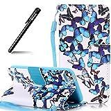 Schutzhülle für iPod Touch 6,BtDuck Tasche für iPod Touch 5/6 Schutzhülle Lederhülle Silikon PU Leder Stand Etui Bunt Get PU Lederhülle Handyhülle für iPod Touch 5/6 - Blauer Schmetterling