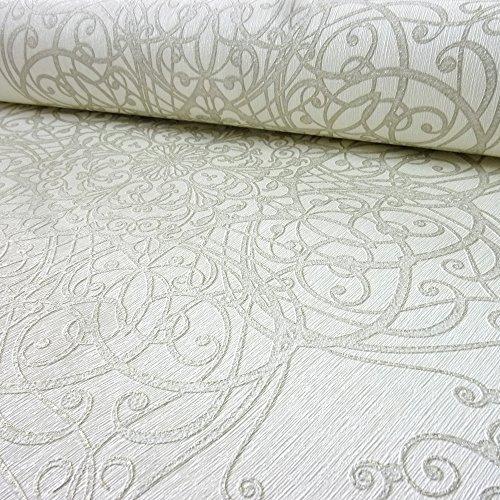 P&S International GMK Damask Wirbel-muster Tapete Glitzer Motiv Texturiert - Weiß gold 02465-50
