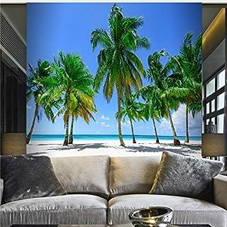 Large 3D Stereo Wallpaper Mural Coconut Blue Seaside Landscape Bedroom TV Wall Background
