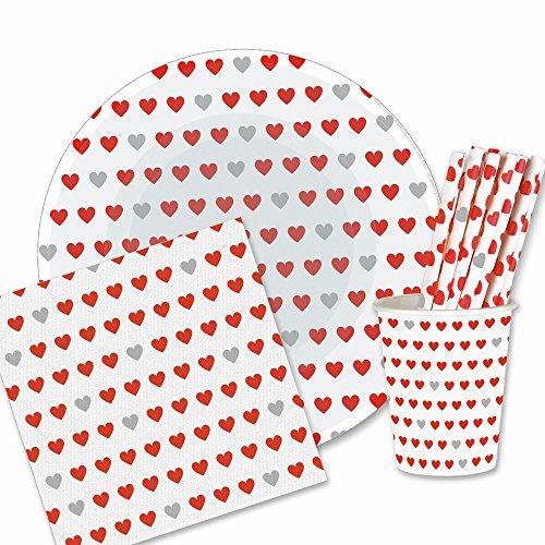 180 tlg. Pappgeschirr Party Set Herz 50x Strohhalme 40x Pappteller 40x Pappbecher 50x Papier Servietten Papiergeschirr bunte Papierteller Geburtstag Becher Standesamt Valentinstag