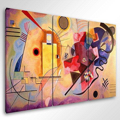 Degona Quadro Moderno KANDINSKY YELLOW RED BLUE - cm 150x100 Stampa su Tela Canvas Arredamento Arte Arredo Astratto