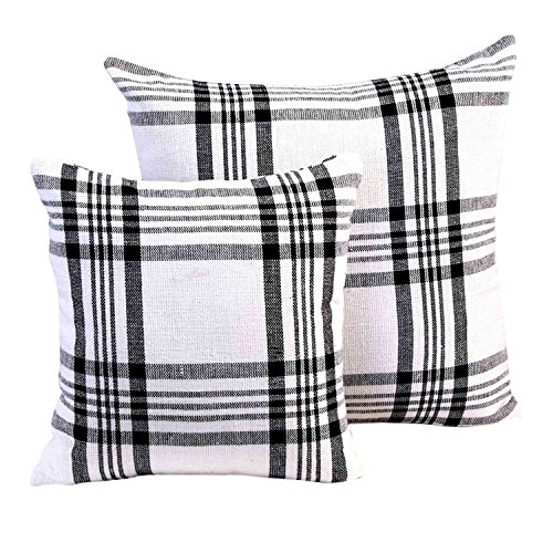 Homescapes White & Black Tartan Cushion Cover, 100% Cotton 18 x 18 or 45cm x 45cm, A Great Fit for Sofa or Settee Cushion Cover, or as Display Cushions for your Bed or Conservatory