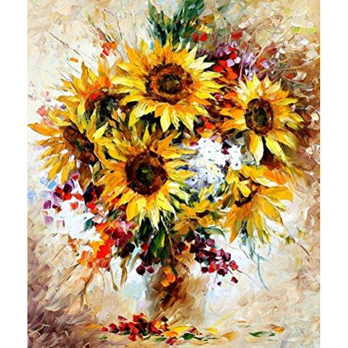Sans Cadre Jaune tournesol DIY Digital Peinture par numéros en acrylique Image, Toile, Yellow Sunflower, Unframed