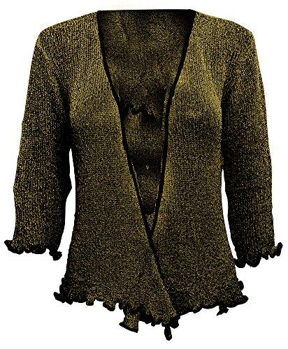 Damen Crochet Strecken Fisch-Netz Boleroshrug Mutterschaft Krawatte an der Taille Cardigan (Eine Größe passt DE 34-48, Black/Gold) (Gold Cardigan)