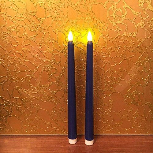 Velas sin llama de cera LED Vigil, 11 pulgadas, con pilas, paquete de 2 (azul)