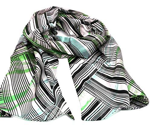 Striessnig Wien – Damen Schaltuch grün Schal mit Streifen Muster, modisch aktuelles Halstuch, ca. 36 x 160 cm (Diagonal-streifen-schal)