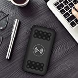 Qi Wireless 20000mah Power Bank, 2 USB-Akkuladegerät für Mobiltelefon schwarz