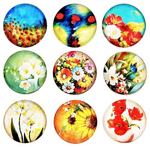 Cosylove Pack-9 Blume Kühlschrankmagnete, Kristallglas Kühlschrankmagnete für Büroschränke, Whiteboards, Fotos, schöne dekorative Magnete für Urlaub Geschenk, dekorieren Zuhause (Upgrade Blume) -
