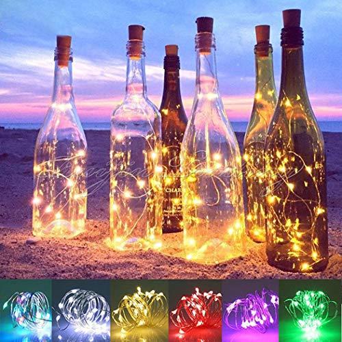 (Keptei LED Flaschenlicht Lichterketten Weinflaschen Lichter Korken 1m/ 1,5m/ 2m Stimmungslichter LED Lichter für Party, Hochzeit, Weihnachten, Halloween, Beleuchtung Deko (Warm Weiß, 2m))