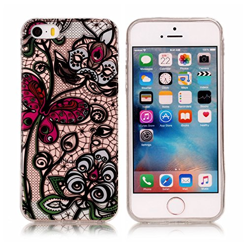 iPhone SE Custodia, iPhone 5S/5 Cover in Silicone TPU Transparente, JAWSEU Creativo Disegno Super Sottile Cristallo Chiaro Custodia per Apple iPhone 5/5S Corpeture Case Antiurto Anti-scratch Shock-Abs Farfalla