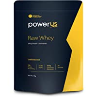 Powerus Raw Whey Protein Powder 1Kg | 80% Concentrate Whey | 33 Servings | 24 gm Protein, 5.1 gms BCAA and 4 gms Glutamine Per Serving - Unflavoured